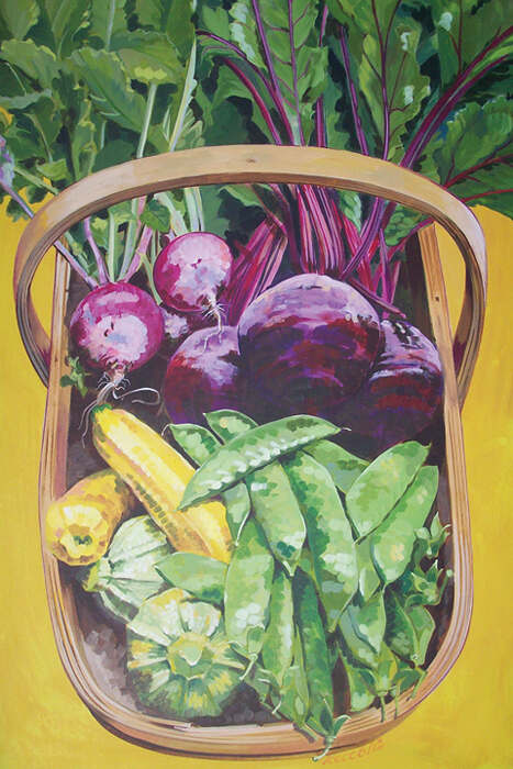 Trug with beetroot, peas and squashes