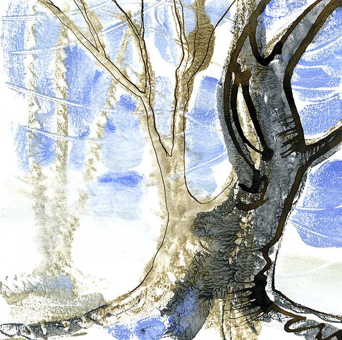 Winter tree monoprint