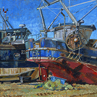 Boats at Hastings, acrylic painting by by Kate Chitham