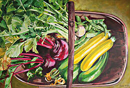 Newly harvested garden vegetables, acrylic painting by Kate Chitham