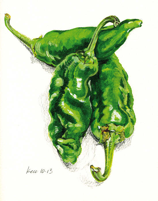 Green peppers acrylic painting on board