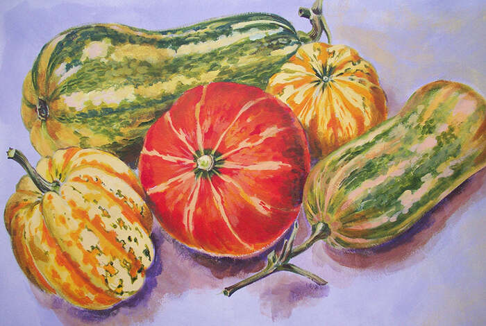 Group of squashes, acrylic on board