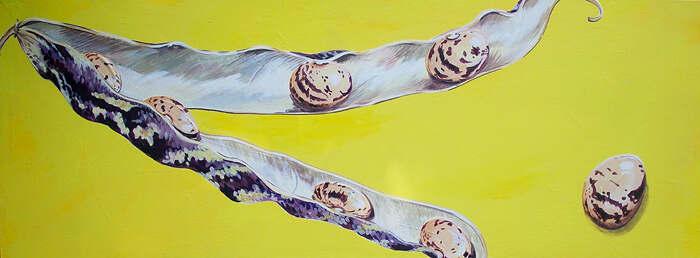 Borlotti bean acrylic painting on boad