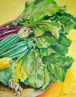 Beetroot and courgette trug, acrylic on board