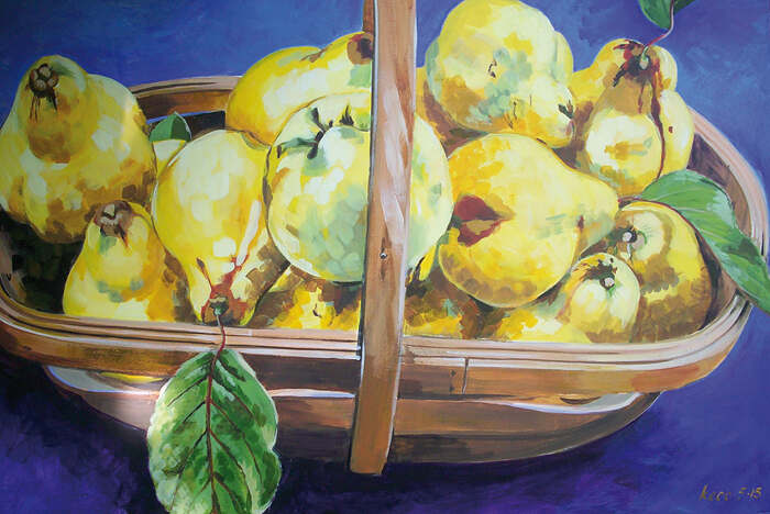 Trug with quinces