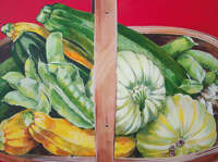 Trug with Squash and Courgettes